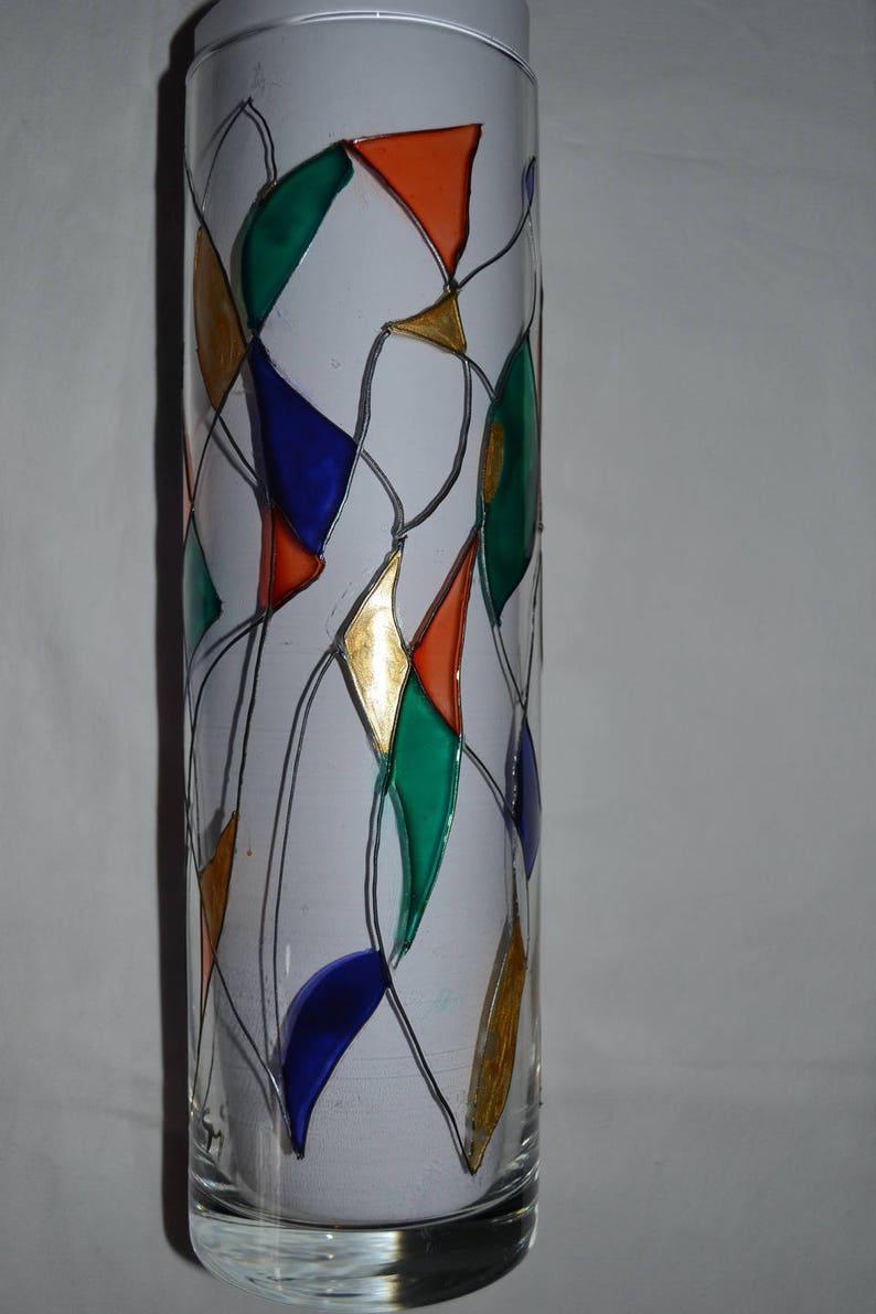 Idee Deco Pour Grand Vase Transparent vase painted glass harlequin, window, green orange blue night and gold,  vase top, vase harlequin, large vase, painting on glass opaleisis