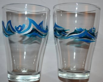 """6 water glasses, juice """"blue waves"""", painting on glass Opal isis on Etsy"""