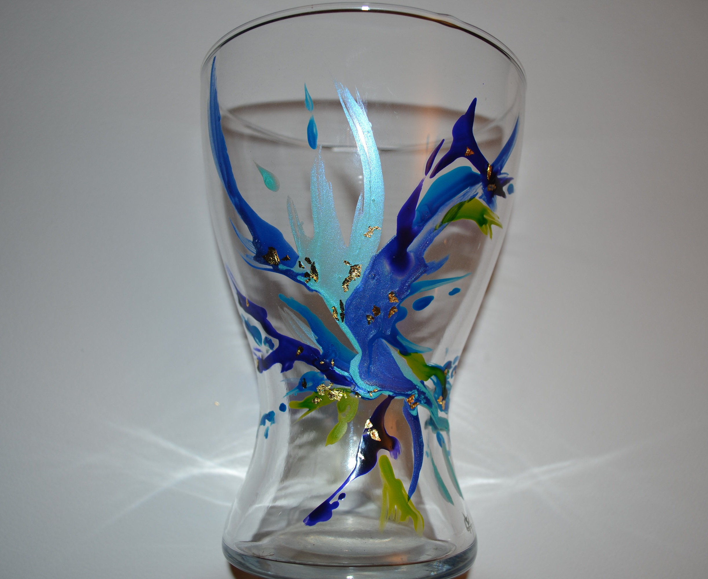 Idee Deco Pour Grand Vase Transparent vase large painted glass murano style, blue and green anise, large vase,  painted flared vase, blue vase, vase color painting on glass opaleisis