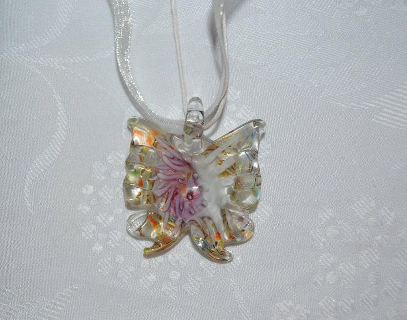 Murano pendant Necklace-Butterfly pendant glass Murano style white cotton cord jewelry opaleisis butterfly glass butterfly mauve and white