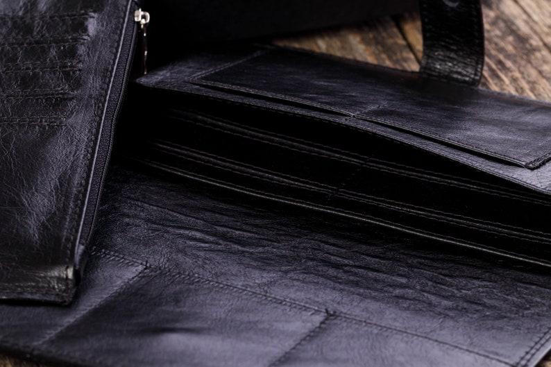 Full Grain Leather Black Men/'s Classic Clutch Excellent Leather Goods Handmade in Latvia Summer Sale Gift for Men Women from TAILOR.LV