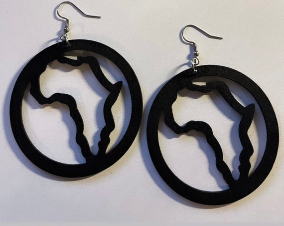 """The """"Wooden"""" BLk Africa Cicrle earrings"""