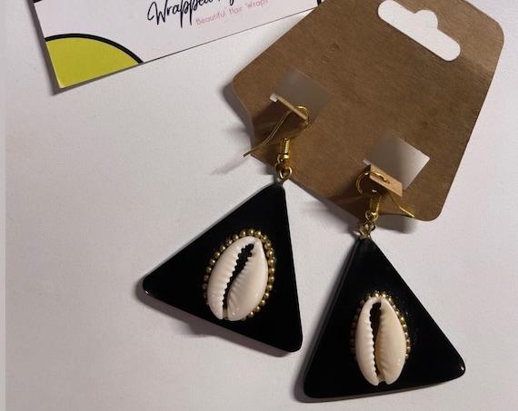 "The ""Shell"" black triangle base earrings"