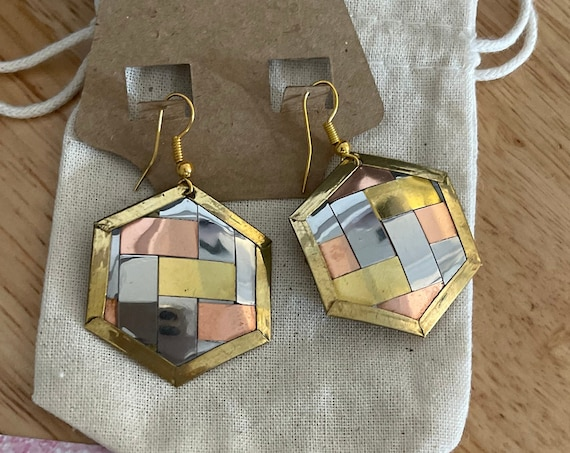 "The ""Hexagon Shape"" earrings"