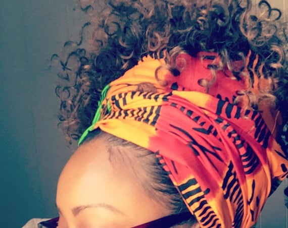 "The ""Red, Orange & Green"" hair wrap"