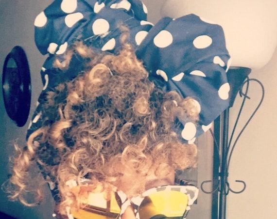 "The ""Polka Dot"" Navy blue hair wrap"