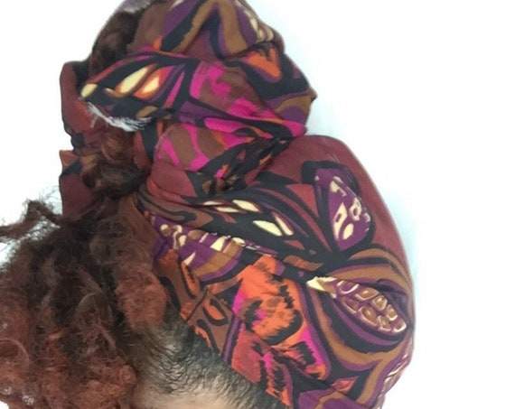 "The""Chestnut"" chiffon/satin hair wrap"