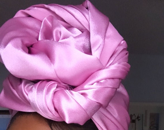 "Head wrap ""Rose pink Satin"""