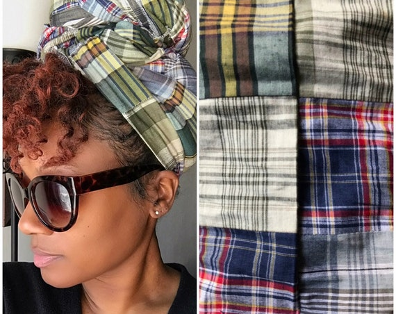 "The ""Plaid patch"" hair wrap"