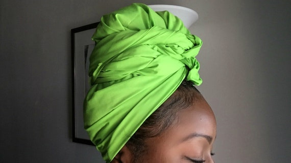 "The ""Lime Green Solid"" hair wrap"