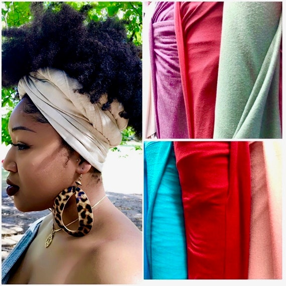 """Head wrap """"Cotton stretchy jersey"""" NUDE solid wrap"""