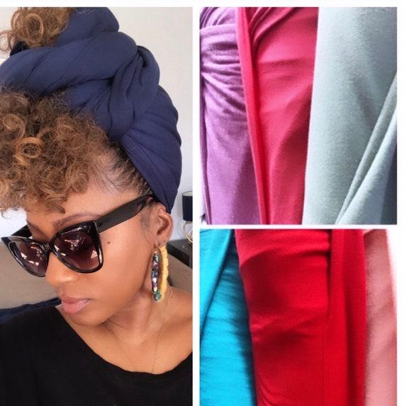 "Head wrap ""Cotton stretch jersey"" navy blue"