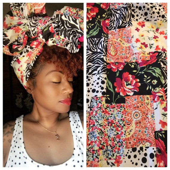 "Head wrap ""Mixed print Chiffon"""