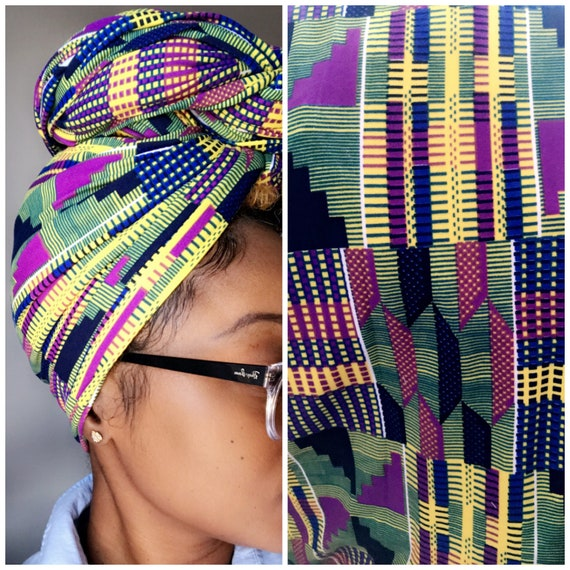 "Head wrap ""Grape Kente"" stretchy"