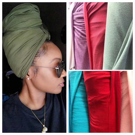 """Head wrap The """"Cotton stretchy jersey"""" ARMY GREEN solid wrap"""
