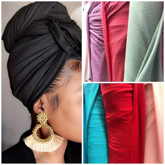"Head Wrap The ""Cotton stretch jersey"" solid wrap"