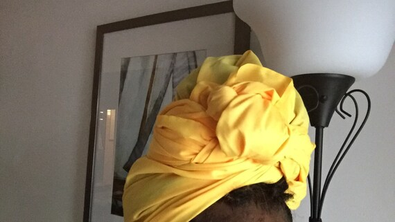 "The ""Yellow Solid"" hair wrap"