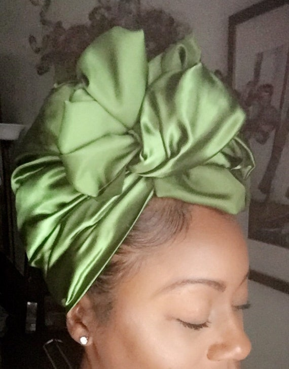 "The ""Hunter Green solid Satin"" hair wrap"