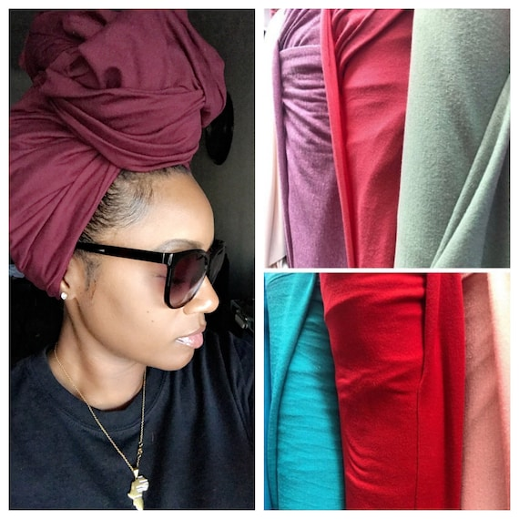 "Head wrap The ""Cotton stretchy jersey"" DARK PLUM solid wrap"