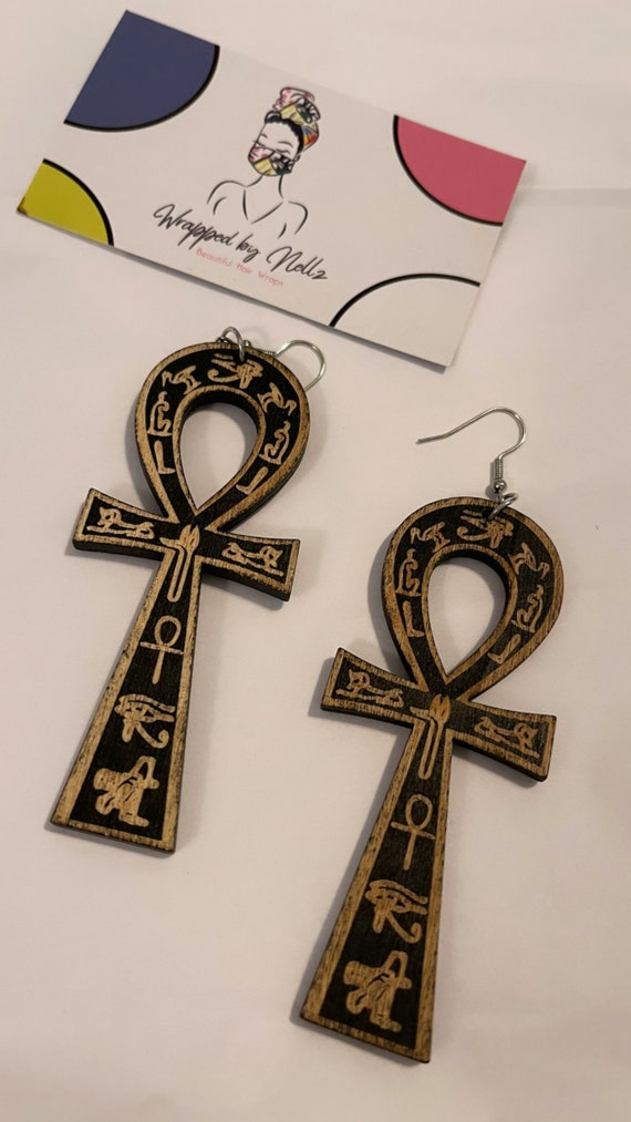 """The """"Wooden"""" earrings (Life) Blk"""