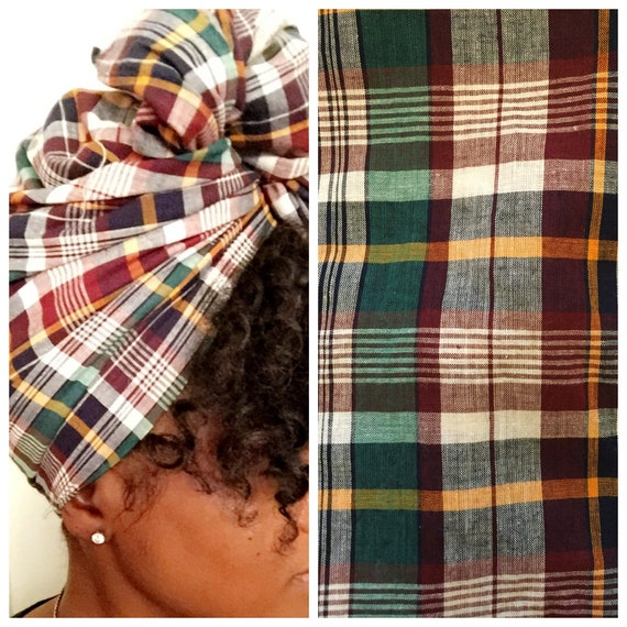 "The ""Emerald Plaid"" hair wraps"