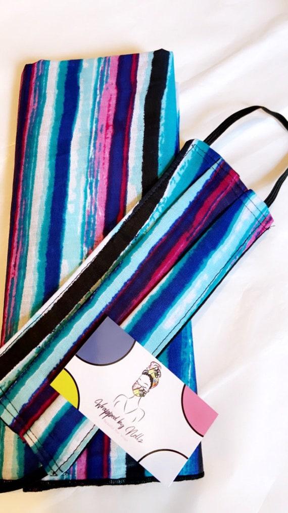 Wrap & Filtered Mask set Pretty Stripes