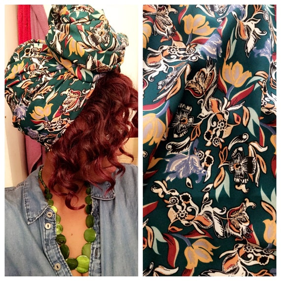 "Head wrap ""Emerald Garden"""