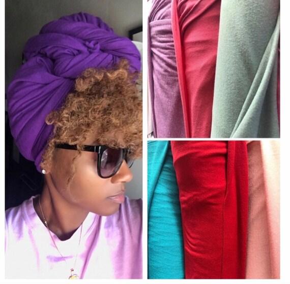 "Head wrap ""Cotton stretchy jersey"" purple wrap"
