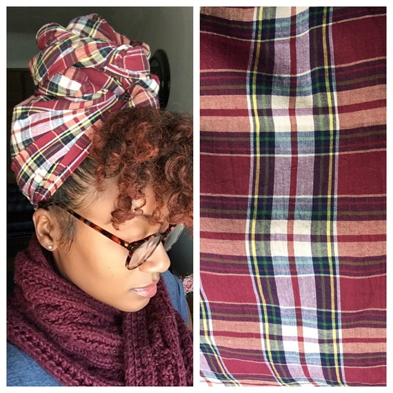 "The ""Maroon Plaid"" hair wrap"
