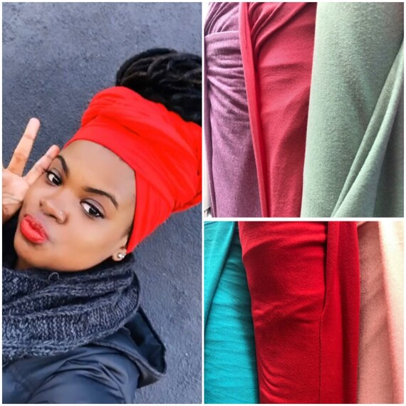 "Head wrap ""Cotton stretchy jersey"" red wrap"