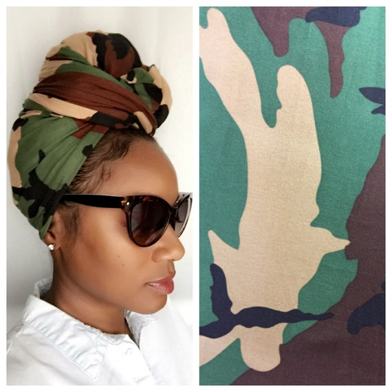 "Head Wrap The ""Army Stretchy"" hair wrap"