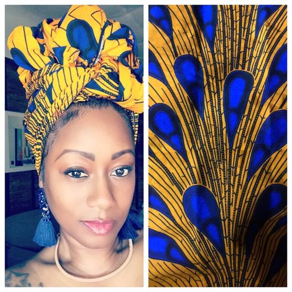 "The ""Blue/Gold"" Hair Wrap"