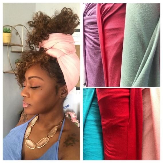 "Head wrap ""Cotton stretch jersey"" light pink/peach wrap"