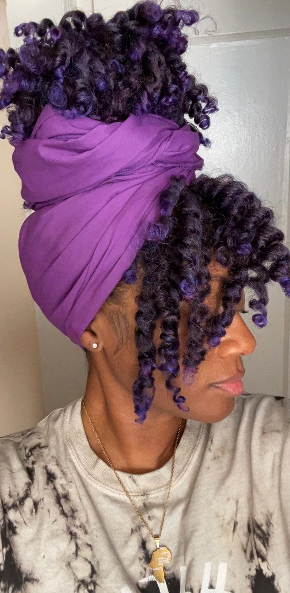 "The ""Dark Purple Solid"" hair wrap"