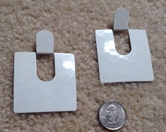 Retro vintage clip on earrings, white metal squares