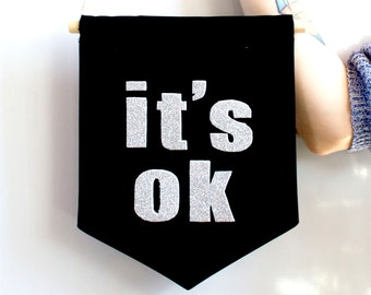 IT'S OK canvas banner wall art Single flag fabric black  banner wall hanging motivation quote pennant minimalist home decor