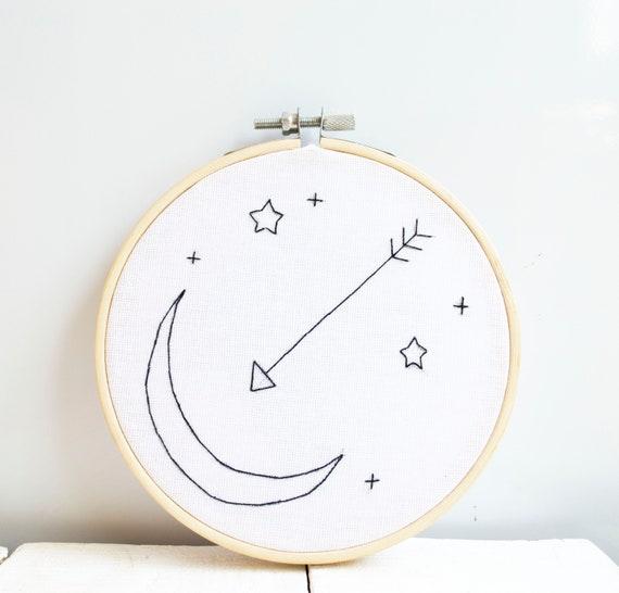 Moon Nursery Embroidery Hoop Art Contemporary Wall Decor Arrow Etsy