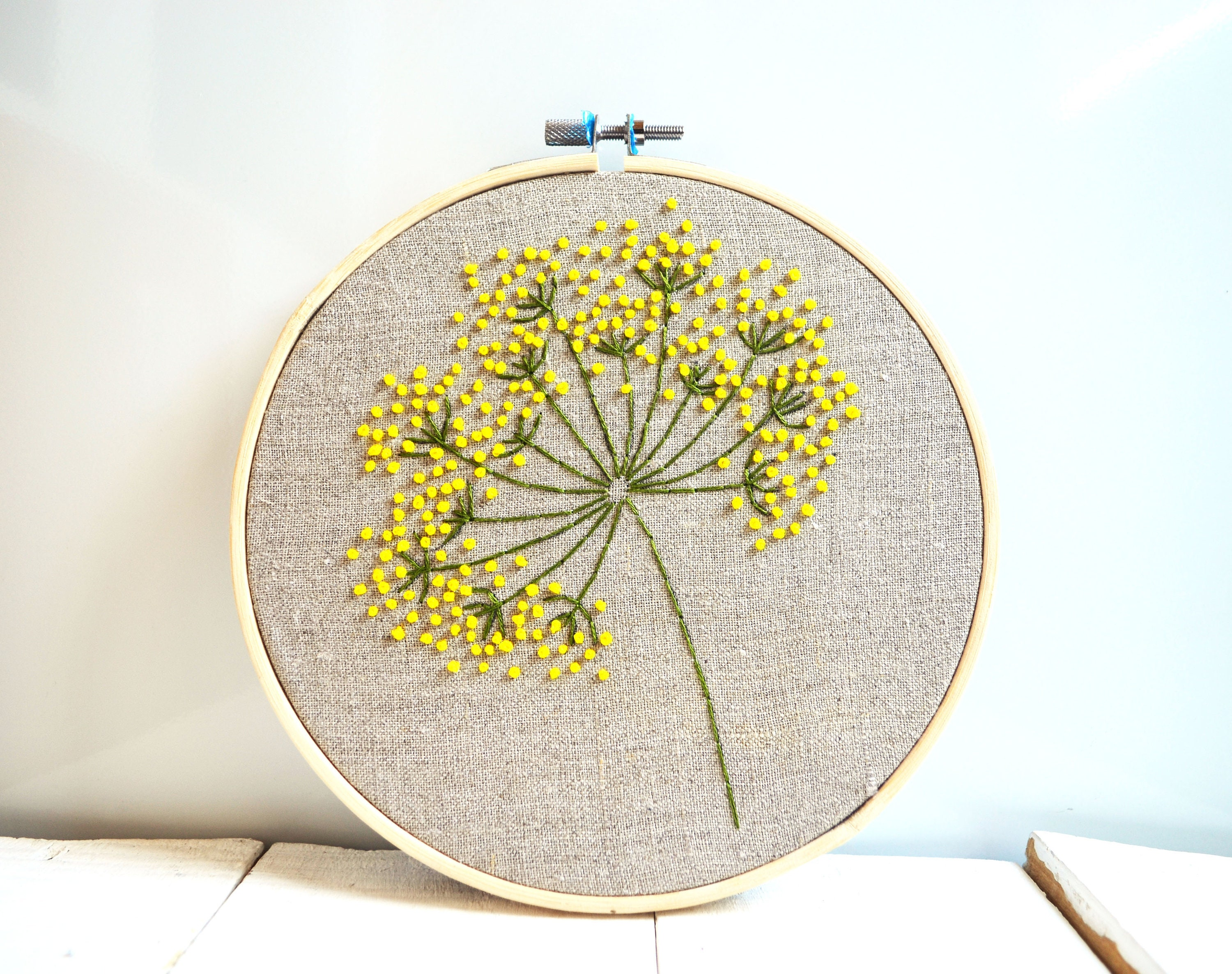 Floral embroidery hoop art Yellow wild flowers wall art Hand   Etsy