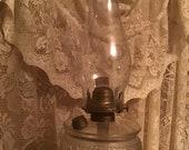 Victorian Miller Glass Oil Lamp Ornate Design Frosted Diamond Font