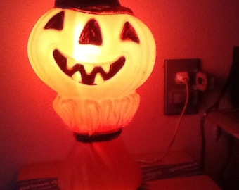 pumpkin blow mold light vintage 1960s halloween decoration