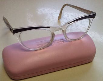 ec9ce47a63 Cats Eye Glasses Authentic 1950 s Shuron Browlines