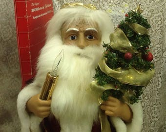 telco motionette santa father christmas doll animated lighted old world santa vintage 1988 - Animated Christmas Dolls