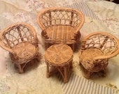 Wicker Doll Furniture Sofa Chairs Table Vintage 1970 39 s
