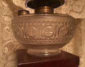 Miller Glass Oil Lamp Glass Ornate Design Frosted Font