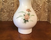 Milk Glass Chimney Shade Pink Roses Pearl Top Vintage Fenton for Oil or Electric Lamps