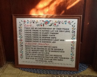 Framed Embroidery Peace Prayer of Saint Francis Beautiful Antique 50's Wall Decor