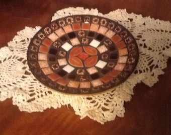 Mosaic Candle Holder Trinket Dish Vintage Home Decor