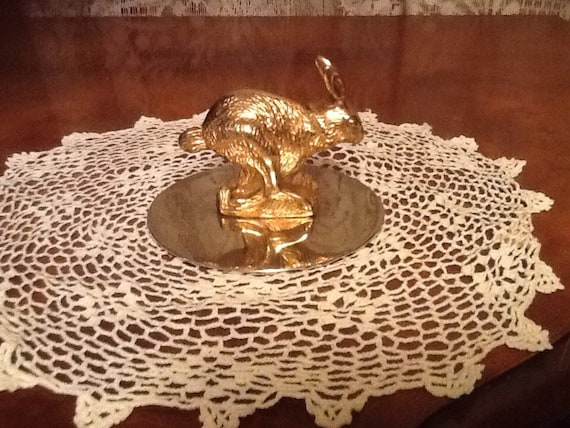 Neiman Marcus Bunny Paperweight Brass Rabbit Home Decor Free Ship