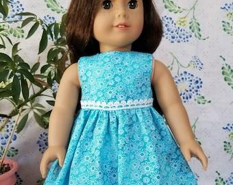"""Blue Flower Print Dress for American Girl or 18"""" Dolls"""