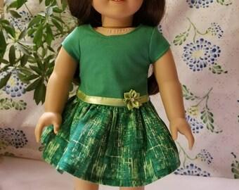"Green Dress for American Girl or 18"" Dolls"